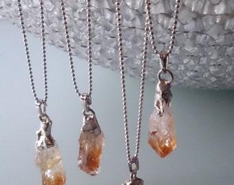 Raw crystal necklace, citrine, november birthstone, citrine necklace, raw citrine necklace, raw crystal, healing crystal, yoga jewelry