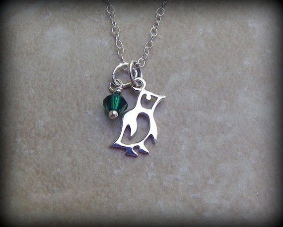 Sterling silver pinguin necklace, expectant mother jewelry, penguin symbol, birthstone necklace