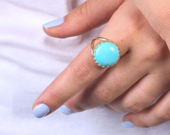 Turquoise Ring Gold Turquoise Gemstone Ring Statement Stone Jewelry Stackable Ring Solitaire Turquoise   21109