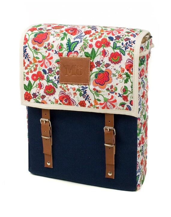 Frida bleu sac à dos, sac à dos impression toile et cuir, Méditerranée inspirée, ensoleillée, fleur imprimé sac, sac à dos féminin