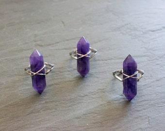 Amethyst Ring // Silver Ring // Gemstone Ring // Raw Amethyst // February Birthstone // Crystal Ring