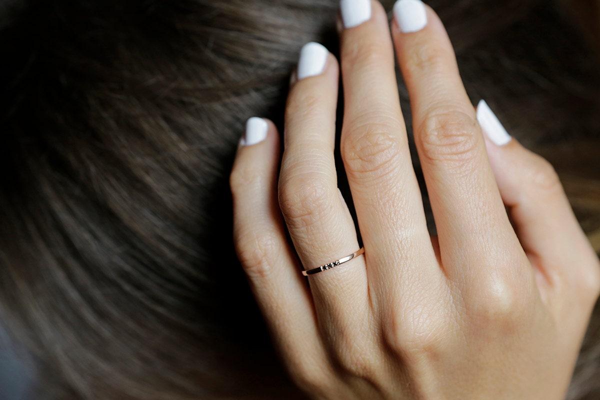 thin diamond band infinity diamond wedding band Rose Gold Diamond Band Dainty Wedding Ring Rose Gold Wedding Band Black Diamond ring 14k Solid gold