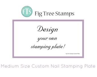 Medium Rectangular Personalised Nail Art Stamp Plates, Custom Engraved Nail Stamping Plates, Design Your Own