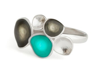 Silver statement ring , Modern ring , multistone ring , adjustable Turquoise ring, black and blue ring