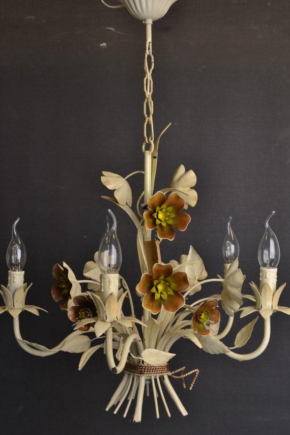 Vintage toleware chandelier italian