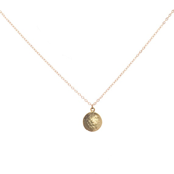 Gold Circle Necklace, Circle Pendant, Gold Coin Necklace, Coin Pendant, Hammered Circle, Hammered Coin, Dainty Gold Necklace, Delicate Gold