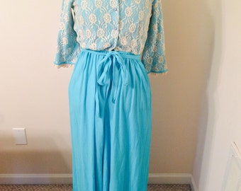 Vintage 70s Turquoise Blue and Lace Jumpsuit Palazzo Pant