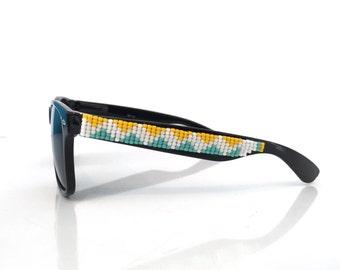 Yellow & Turquoise ZigZag Polarized Beaded Sunglasses, Beaded Sunglasses, Hand Beaded, Chevron glasses, Wayfarer Sunglasses, Ray Ban Style