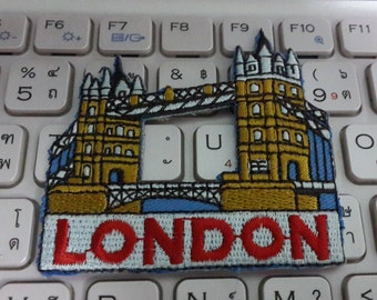 London Iron on patch - London Tower Bridge Applique Embroidered Iron on Patch