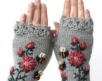 Knitted Fingerless Gloves,  Clothing and Accessories,Gloves & Mittens, Gift Ideas, For Her, Grey, Bees,