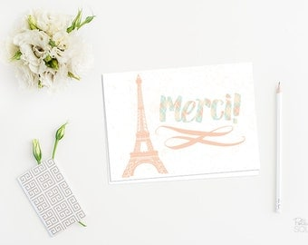 Paris thank you cards French thank you card Merci! Printable thank you cards Eiffel tower Note cards Folding 4 Bar size