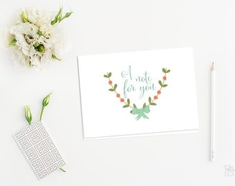 Laurel note cards Printable note cards Floral note cards Folding 4 Bar size