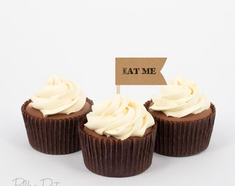 Printable cupcake flags Dessert flags Kraft paper Eat Me Funny cupcake flags Birthday decorations Instant download