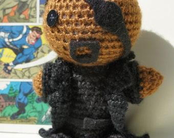 Crocheted Nick Fury Doll