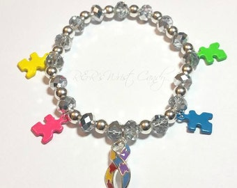 Autism Awareness Beaded Bracelet, Charm Bracelet, Austim Support Bracelet, Stretchy, Ribbon,Handmade, Custom, Beaded Jewelry