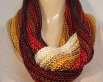 Autumn Infinity - Striped Multi-colored Crochet Infinity Scarf