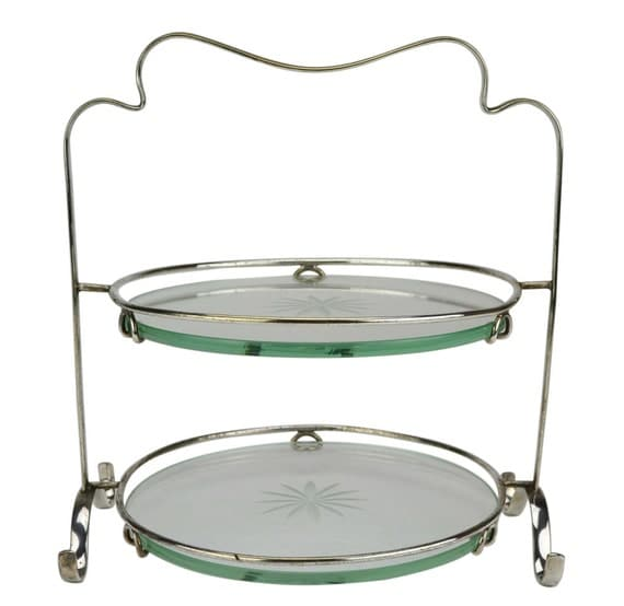 Classic Vintage French 55 Square Two Tier Brass Glass: Two Tier Glass And Silver Plated Cake Stand Antique English