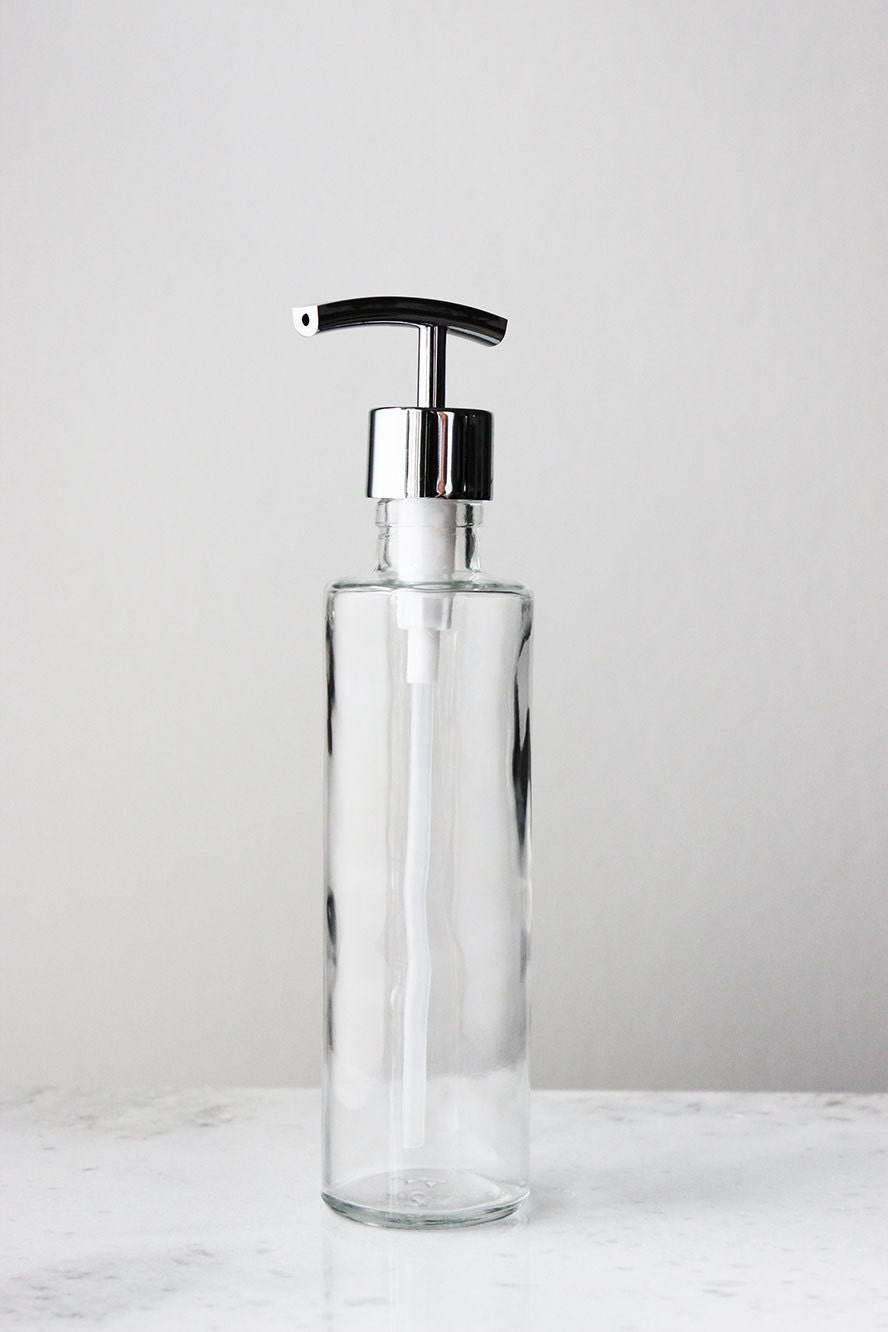 Long Amp Lean Recycled Glass Soap Dispenser Clear