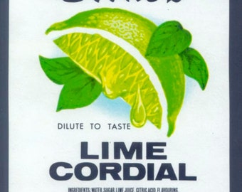 Lovely Cordial Labels from England - Lime, Lemon, Peppermint, Blackcurrant