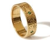 14k gold Vintage 7mm Wedding Band ,Engraved Floral pattern , hand engraved wedding ring, thick men women Vintage gold band set with emerald