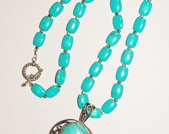 Turquoise Necklace with Removable Pendant - S2384
