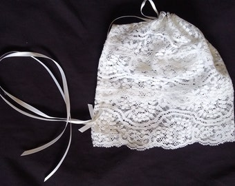Baby Girl White Lace Christening/Baptism Bonnet Size 0-24 Months