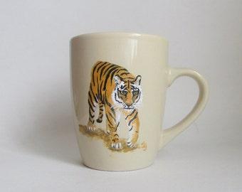 Hand-painted Tiger Coffee Mug Cream Color Wildlife Cup