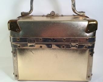 Vintage 1960s Delill Train Case -- Gold Faux Leather Finish