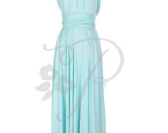 Bridesmaid Dress Infinity Dress Aqua Blue Floor Length Wrap Convertible Dress Wedding Dress