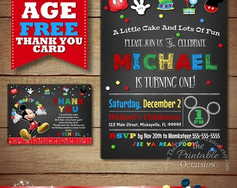 Mickey Mouse Birthday Invitations, Mickey Mouse Birthday Invitation, Chalkboard Mickey Mouse, Chalkboard Mickey Mouse Invitation, Printable