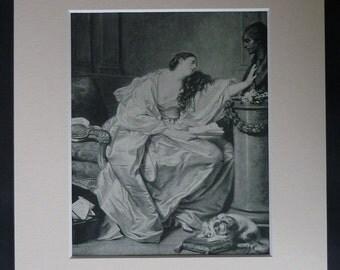 Antique Jean-Baptiste Greuze Print of The Inconsolable Widow, Sentimental Decor, Grief Wall Art, Available Framed, Fine Art, Heartbreak Gift