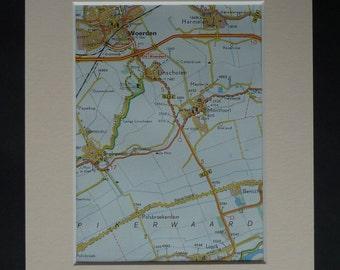 1980s Vintage Map of Woerden, Dutch Print, Netherlands Picture, Available Framed, Holland Map, Montfoort Wall Art, Linschoten, Harmelen Map