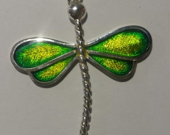Dragonfly, silver engraved and enameled