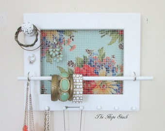 Shabby Jewelry Organizer - Jewelry Holder Vintage Spring Floral Frame 8 hooks Knob & Jewelry Bar