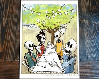 Mexican Day of the Dead Art Bones Nelson Family Party Wall Decor Outdoor Patio Dinner Eclectic Hipster home decor Skeleton celebration