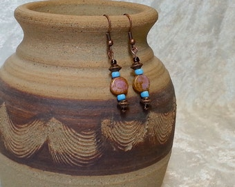 Gypsy Boho Inspired Earrings - Amber and Pink Czech Glass Earrings - Antique Copper Earrings - Bohemian Jewelry