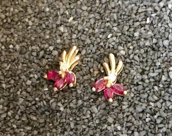 14K Gold Deco Ruby & Diamond Earrings (st - 1341)