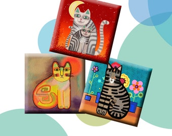 FUNKY CATS-Digital Collage Sheet 1 inch square images for pendants, round bezels, etc. Instant Download #213.