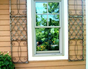 Exterior Wrought Iron Window Skiview Shutters - Metal Wall Art For Outdoors or Use As Oblong Home Decor