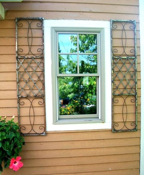 Exterior Wrought Iron Window Skiview Shutters Metal Wall Art