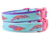 Aqua Feather Dog Collar - Tribal Southwest Navajo Turquoise Blue Orange and Purple Feather Girl or Boy Dog Collar