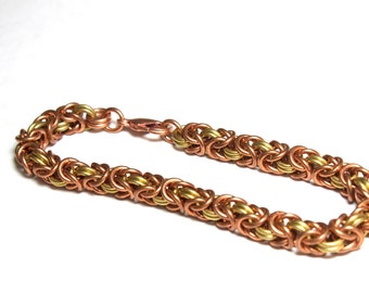 Copper and Brass Byzantine Chainmaille Bracelet