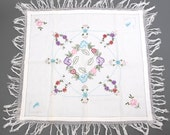 Embroidered Tablecloth Small End Table Foyer Flowerss and Monogram PF White Tassles Fringe Square 30 x 30 Linen Handmade 50s 60s