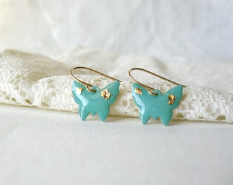 Mint green butterfly earrings- Mint gold earrings- Delicate dangle earrings with gold flakes- Bridesmaids present- Spring Summer Jewelry