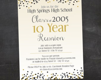Confetti School or Family Reunion Custom Printable Invitation - Pick your school colors