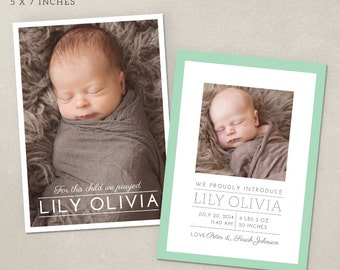 Birth Announcement Card Template - Simple Frame CB011 - PSD instant download