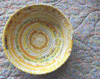 Rope Sewn bowls, covered in fabric, one of a kind