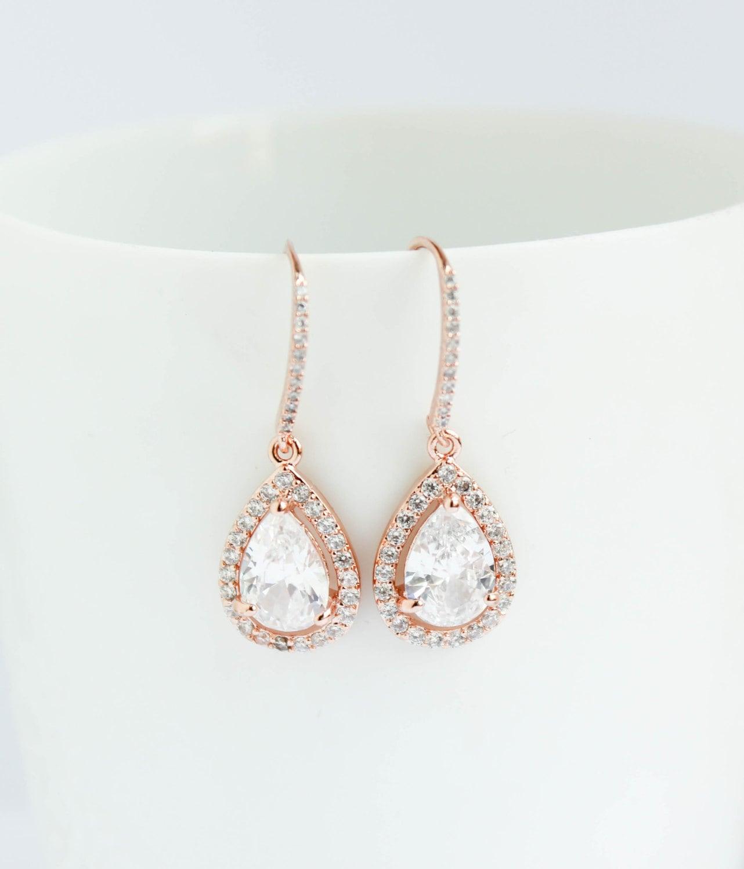 Bridal Earrings Rose Gold Earrings Rose Gold Drop by PROJECTDAHLIA