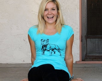 SALE - Pit-Bull/ Staffie/ Amstaff t-shirt in blue for women - Sizes S - 3X - ON SALE