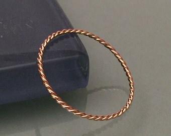 14k Stacking Ring, 14k Pink Gold ring, 14k gold ring, 14k pink gold twisted ring, 14k rose gold twisted ring, 14k braided ring, 14k twist